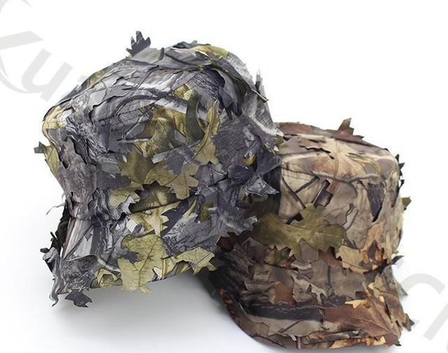 bb367c5846c728 Outdoor sport 3D camouflage fishing visor hat man hunting CS camping Jungle  Bionic Leaves cap Tactical