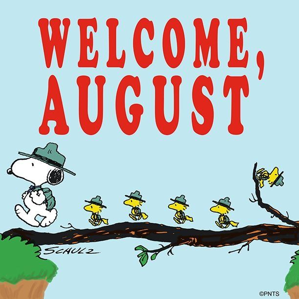 863af481777416 Welcome August as Snoopy leads Woodstock   friends on a summer hike.