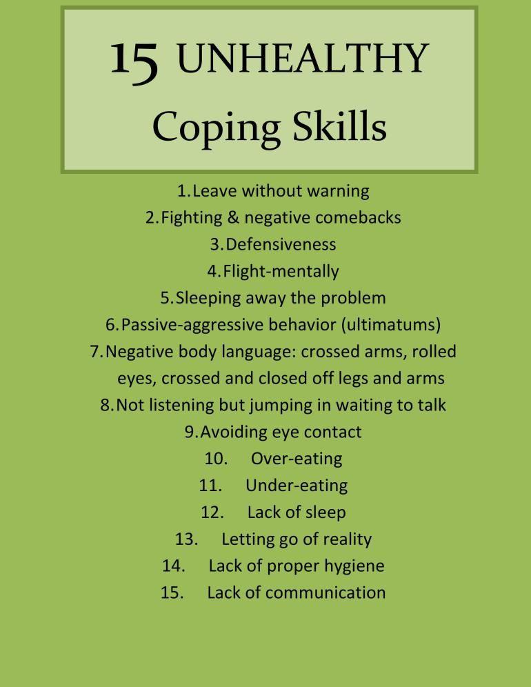 15 Unhealthy Coping Skills Part I Coping Skills