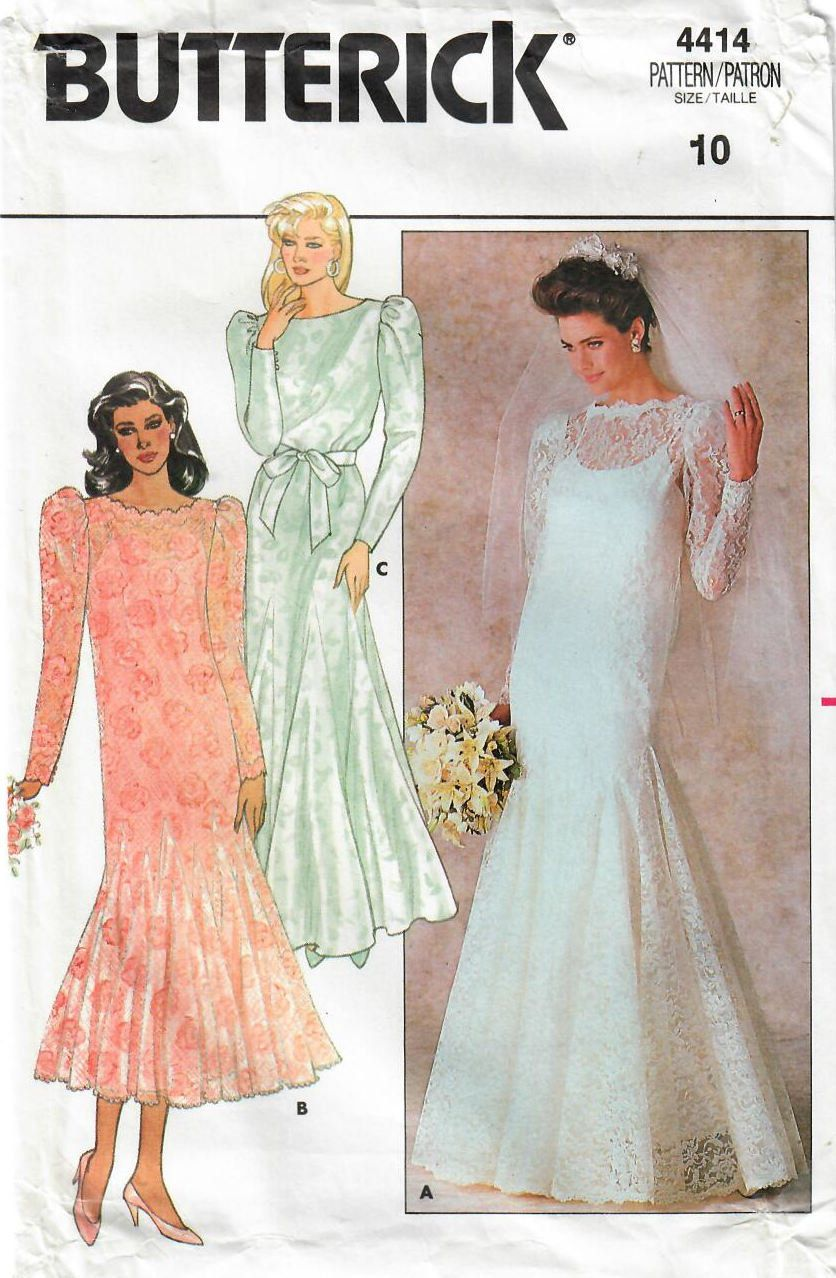 1980s Butterick 4414 Uncut Vintage Sewing Pattern Misses Etsy Bride Dress Patterns Butterick Dress Patterns Wedding Dress Patterns [ 1278 x 836 Pixel ]