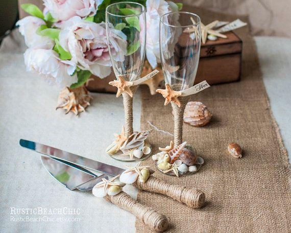 Personalized Champagne Flutes Cake Server Set Beach Wedding Set