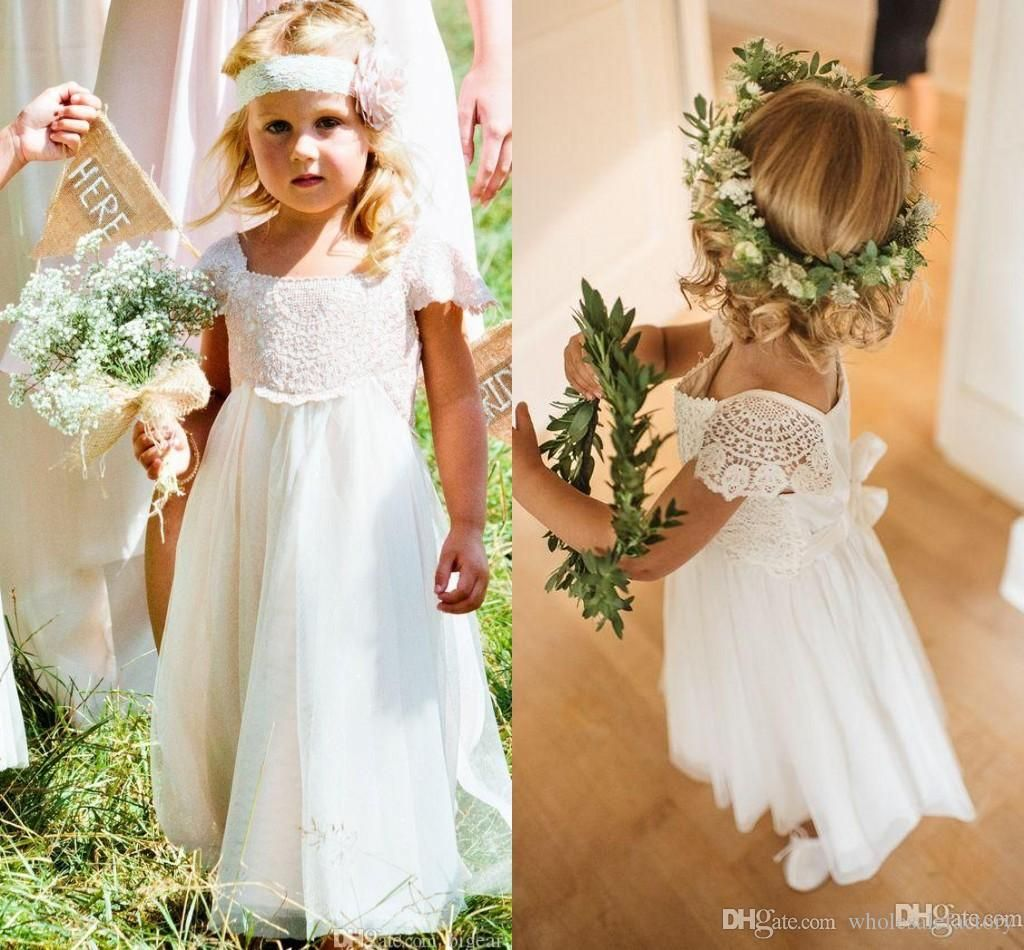 Bohemia lace chiffon a line flower girls dresses short sleeves