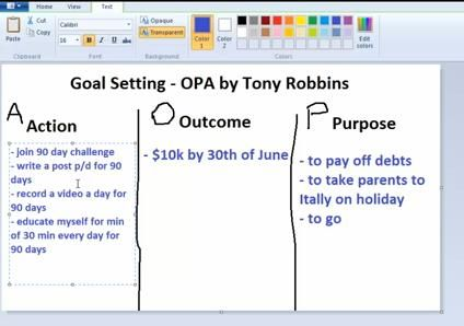 Goal Setting OPA System By Tony Robbins | The Wireless