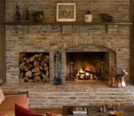 Love the wood storage next to fire place | Fireplace ...