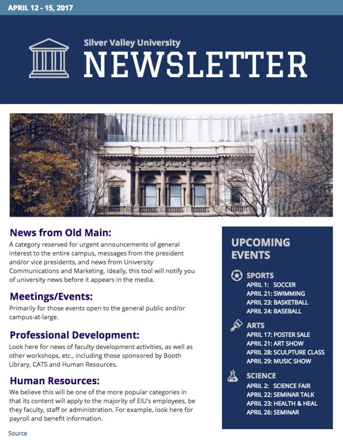 university newsletter template south hills academy pinterest