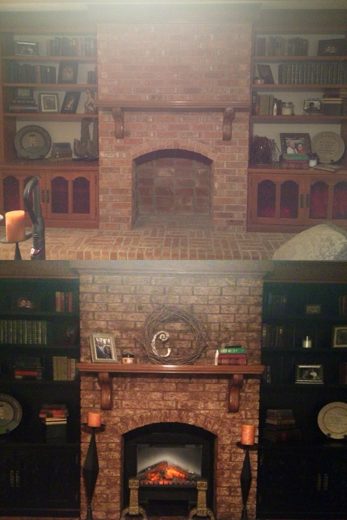 Updating Your Old Red Brick Fireplace And Built In Book