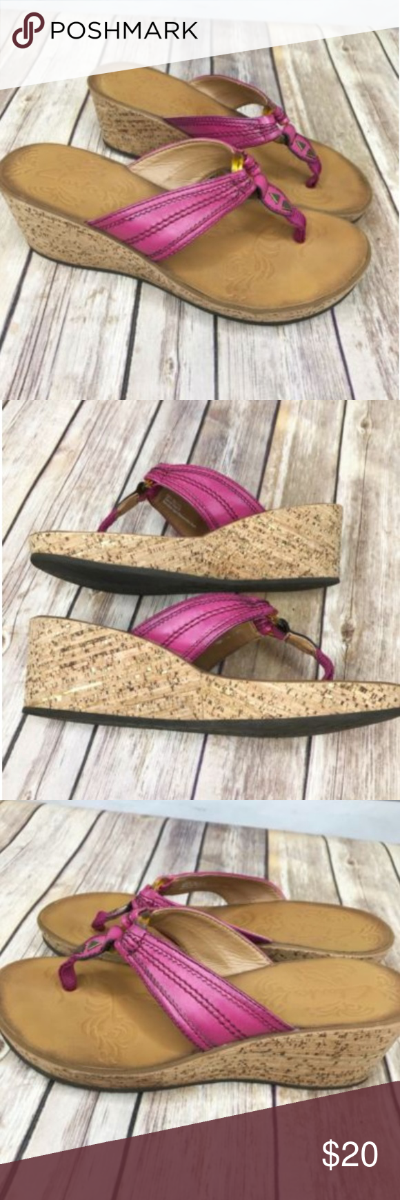 8410a243be7 Clarks Pink Slide On Cork Wedge Sandals Vegan Clarks Womens Vegan Synthetic  Pink Ring Detail Slide On Wedge Sandals 7M great condition