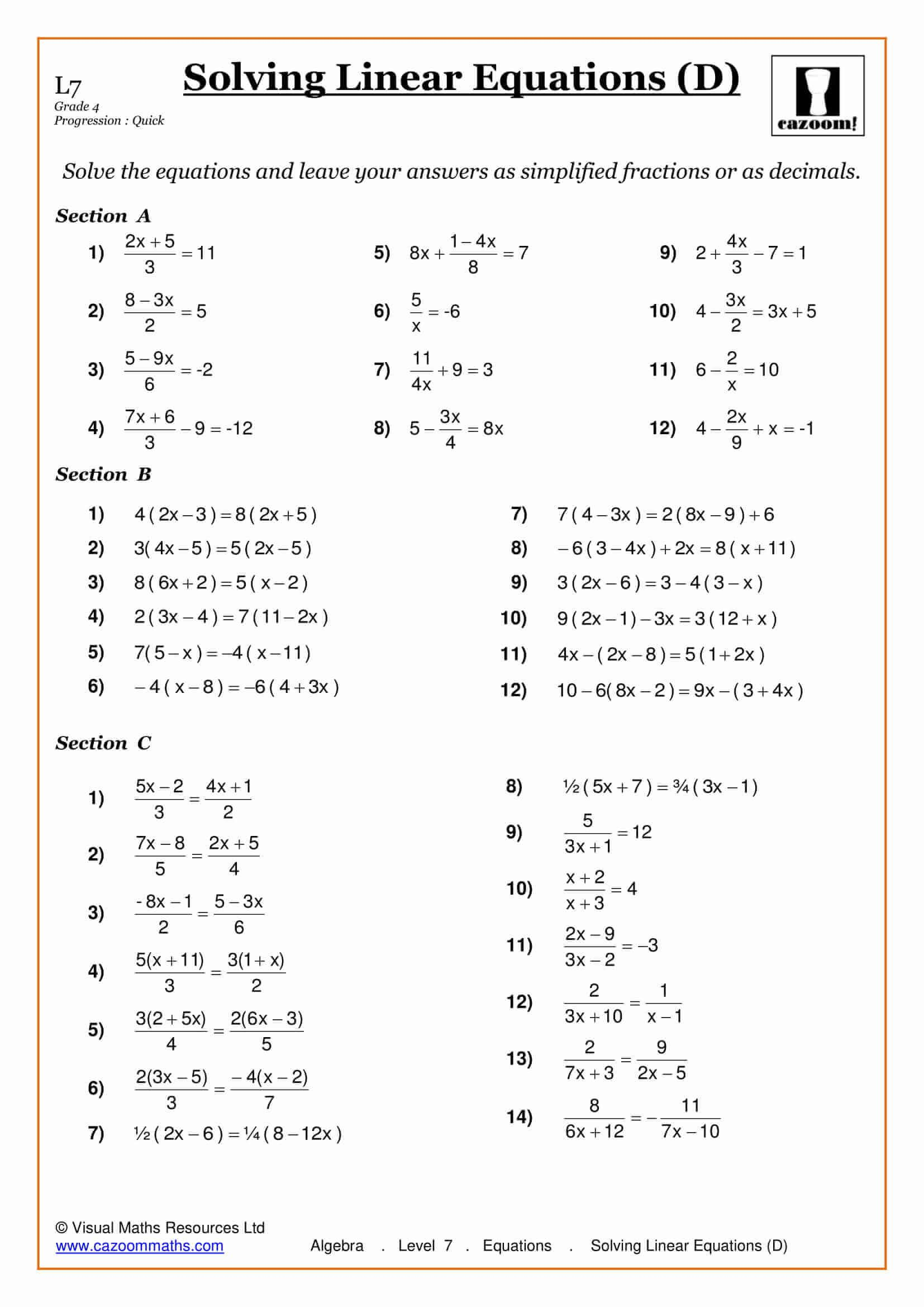 Printables Of Solving Linear Equations Worksheet Year 7
