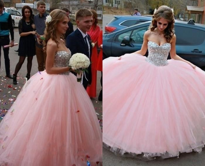 15 Anos Dresses Pink: 2016 Pink Princess Quinceanera Dresses Ball Gown Wedding