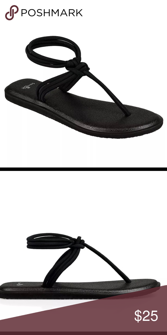 205541a87 New Sanuk Yoga Sunshine Sandals Black Size 8 Soak up the sun with Sanuk s  Yoga Sunshine Sandals. These strappy lil  things don t hold back on comfort  with ...