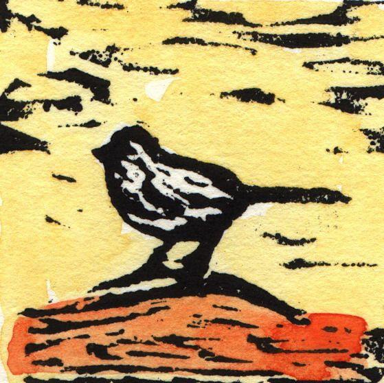 """Solange"", linocut #linocut #bird #yellow #orange #small"