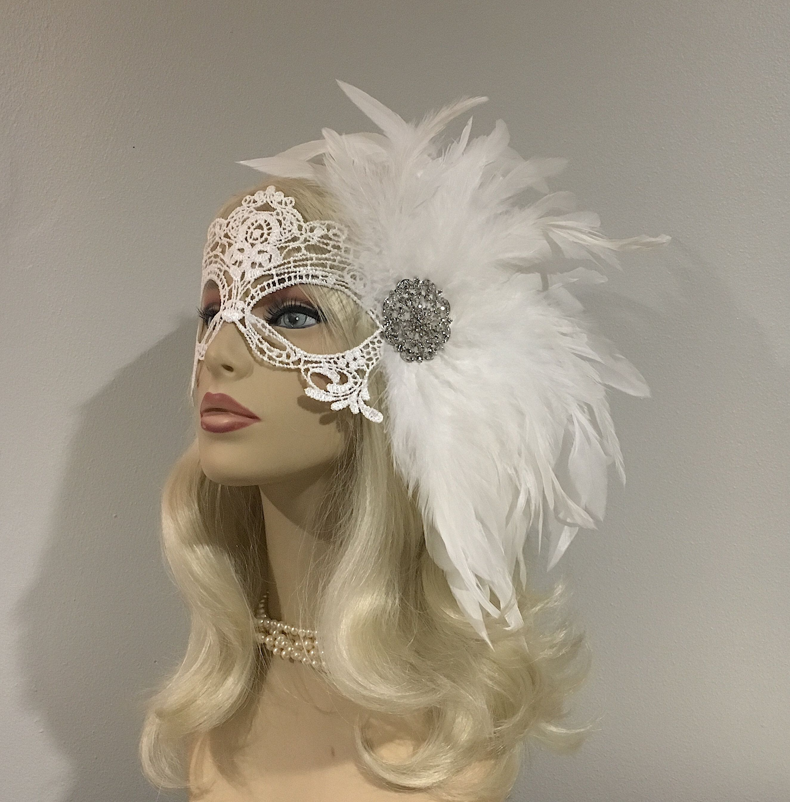 White Lace Masquerade Mask With Feathers Diner En Blanc Etsy Lace Masquerade Masks Lace Mask Masquerade Mask