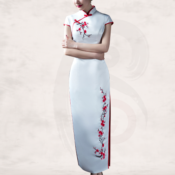 940148005 JLBJ-16198B Red cherry blossom floral embroidered white qipao traditional  Chinese wedding dress 001