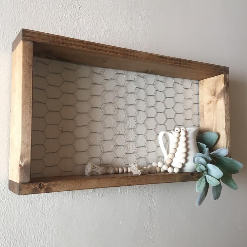 Chicken Wire Shelf Rustic Farmhouse Wall Decor Wood In 2020 Farmhouse Wall Decor Farmhouse Shelves Decor Chicken Wire Frame