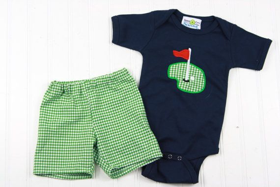 Photo of Baby Boy Clothes – Baby Golf Shirt – Baby Shower Gift – Summer Baby Outfit – Green Gingham Shorts – Boys Golfing Outfit – New Baby Boy Gift