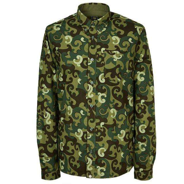 Khaki Riley Print Shirt - Large pic 1