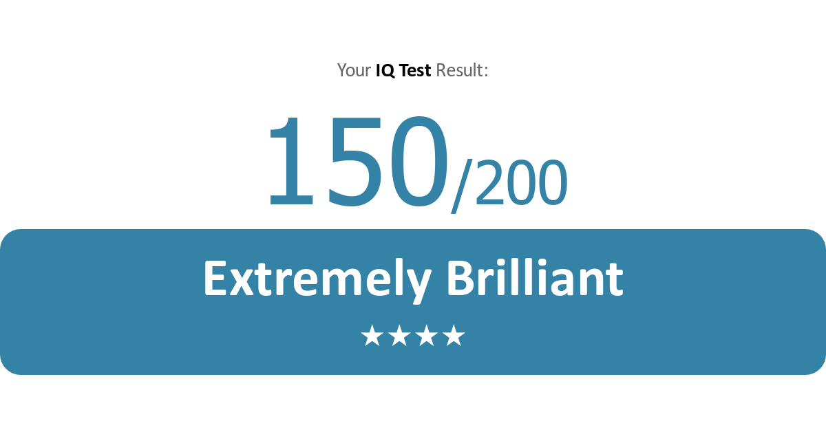 I've got 150 in this IQ test  It's completely free with