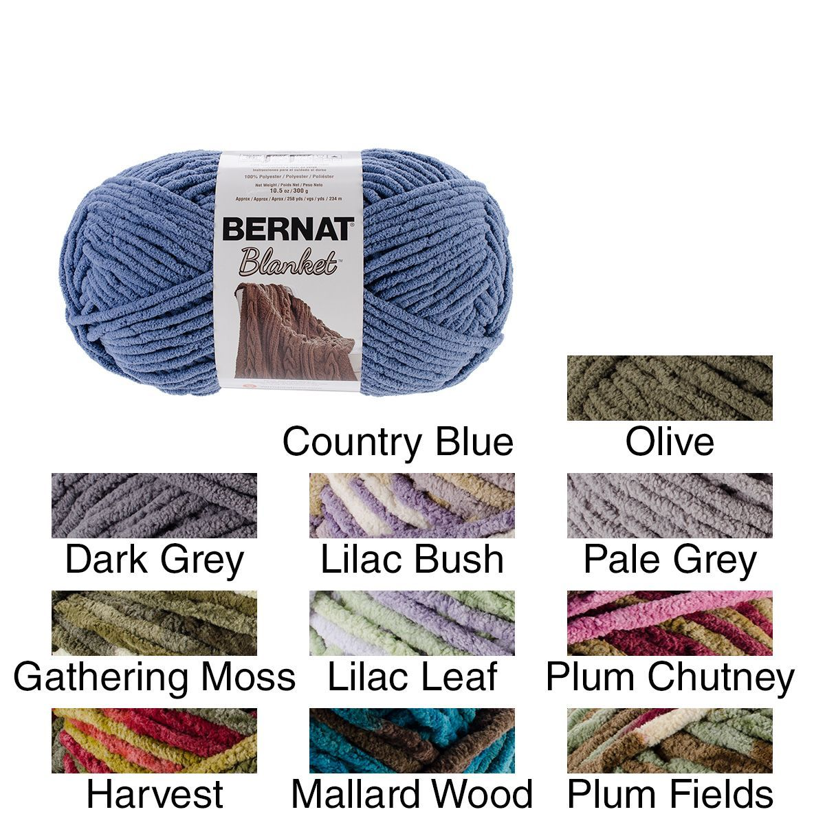 Bernat Blanket Big Ball Yarn (Country Blue) | Bernat Yarn Crochet ...
