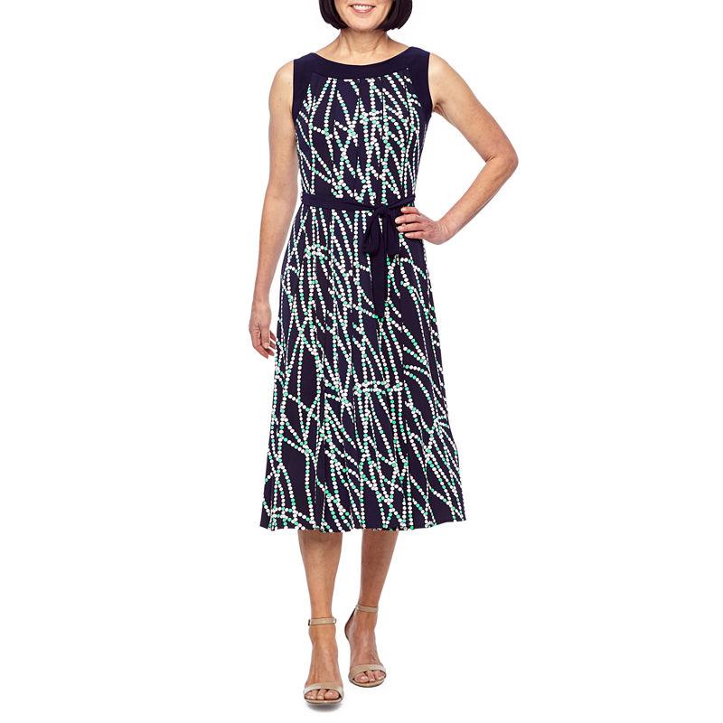 Perceptions Sleeveless Dots Puff Print Fit Amp Flare Dress