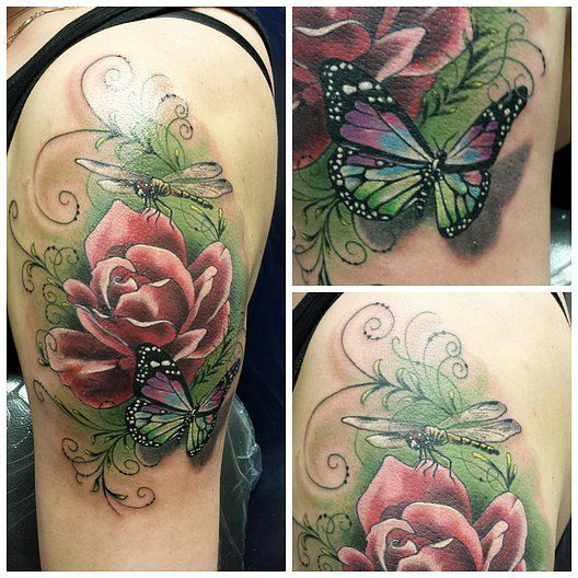 Dragonfly Tattoos With Flowers Men Google Search Tattoo Ideas