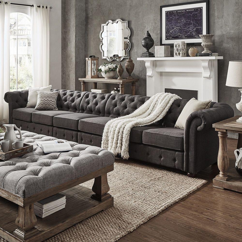 dark grey linen oversize extra long tufted modular sofa by signal hills