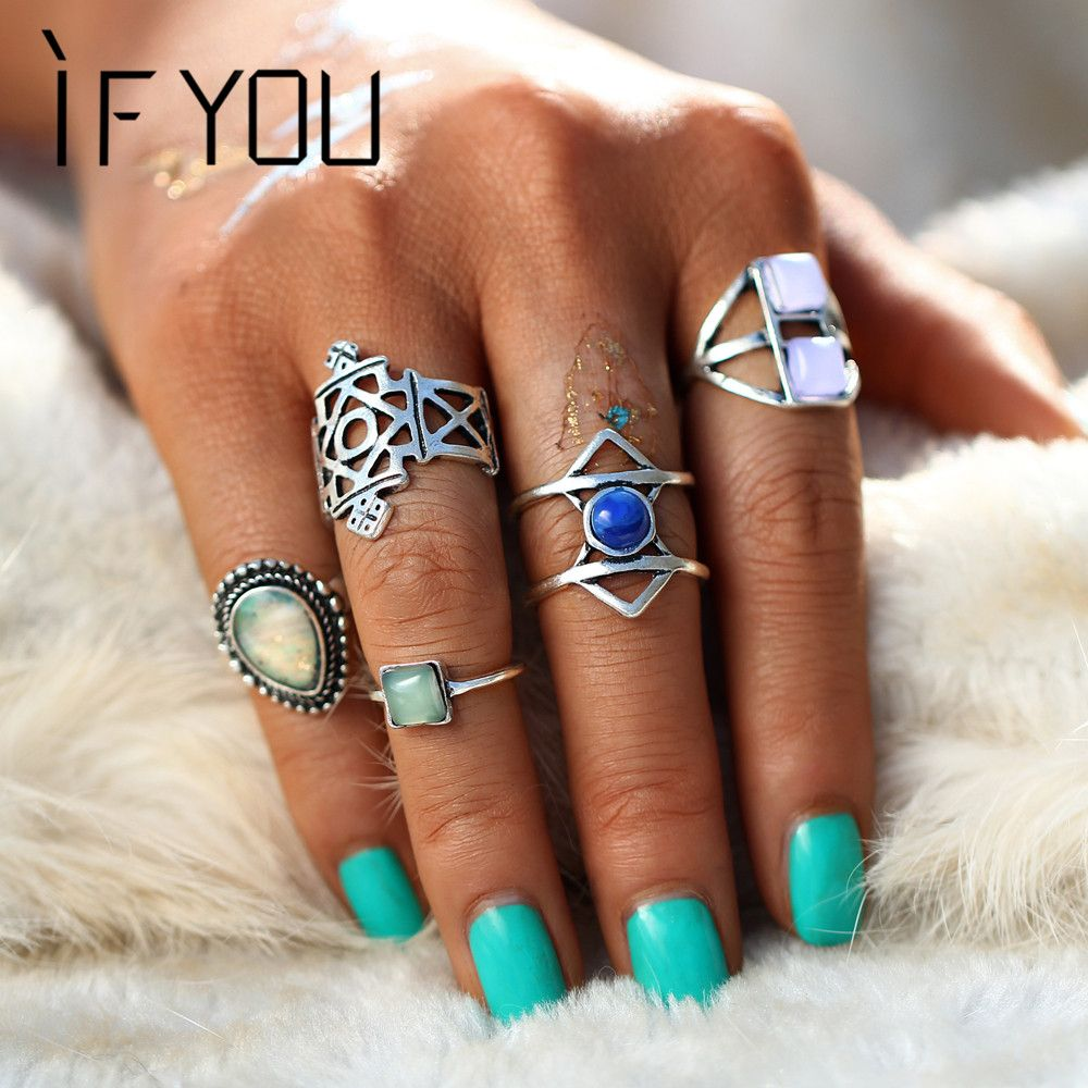 IF YOU Fashion Natural Stone Ring Set For Women Bohemia Retro Geometry Hollow Knuckle Midi Rings Sets Jewelry Gift 5PCs/Set #Affiliate