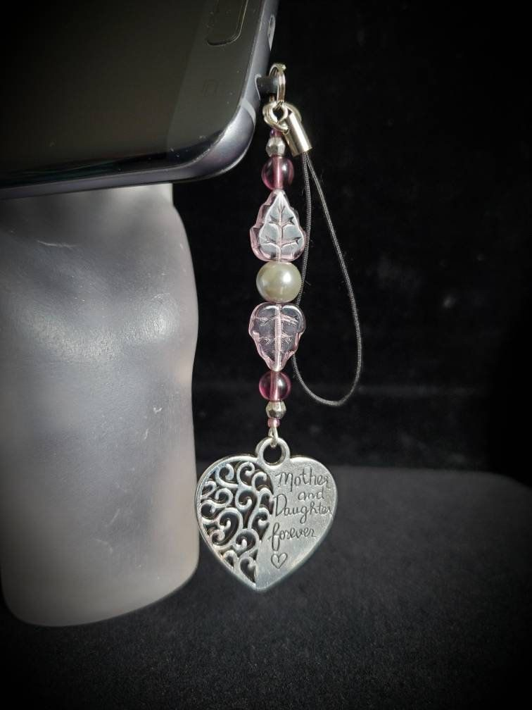 Zipper Pull Keychain Mother and Daughter Forever Heart Phone Charm