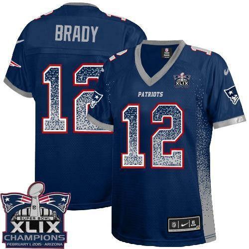 Nike Patriots Tom Brady Navy Blue Team Color Super Bowl XLIX Champions Patch  Women's Stitched NFL Elite Drift Fashion Jersey Cheap Jerseys for sale