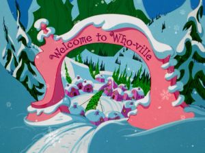 dr seuss houses the entrance to whoville in the how the grinch stole christmas