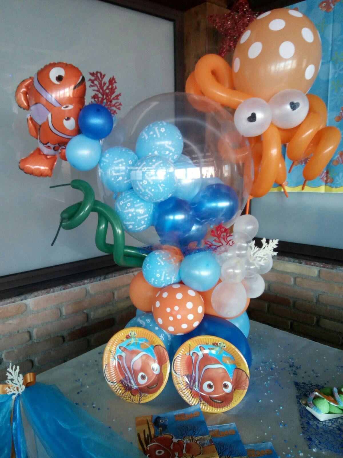 Composizione palloncini compleanno tema nemo | Balocchi e