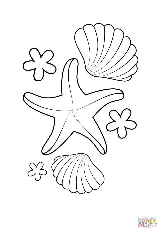 starfish and shells  ausdrucken ausmalbilder basteln