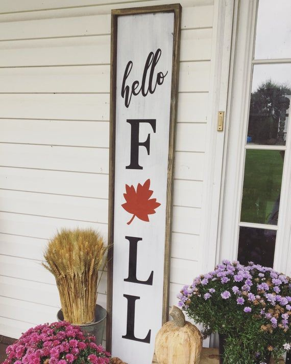 Hello Fall / Fall Wood Sign / Fall Decor / Porch Signs / Pumpkin Signs / Hello Fall Sign / Wood Sign #hellofall