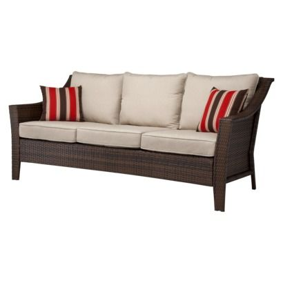 spring haven brown all weather wicker patio sofa the bed collection reviews threshold™ rolston 3-person | for ...