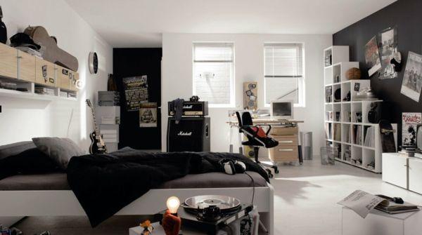 Jugendzimmer für jungs einrichten  teenager zimmer jungen schwarz weiß grau monochromatische farben ...