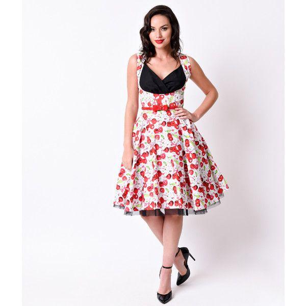 1950s Pin Up Style White & Red Cherry Dana Sleeveless Swing Dress ...