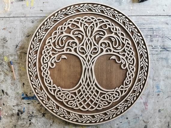 Tree Of Life Carved Wooden Art Yggdrasil Viking Wall Art Carved Wooden Art Diameter 29 Cm And 2cm Thickn Carved Wall Art Art Carved Wooden Wall Art