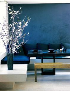 Wand Streichen In Farbpalette Der Wandfarbe Blau Home