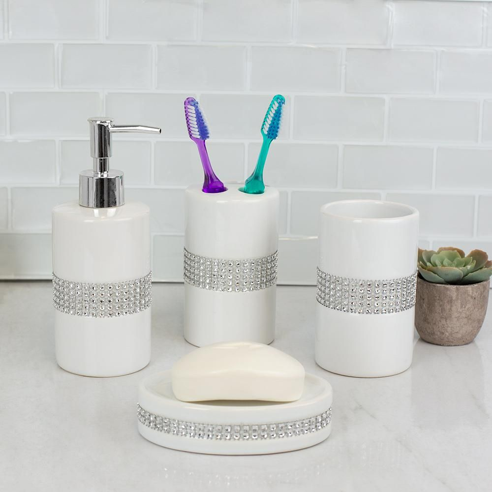 Home Basics Luxury With Stunning Sequin Accents 4 Piece Ceramic