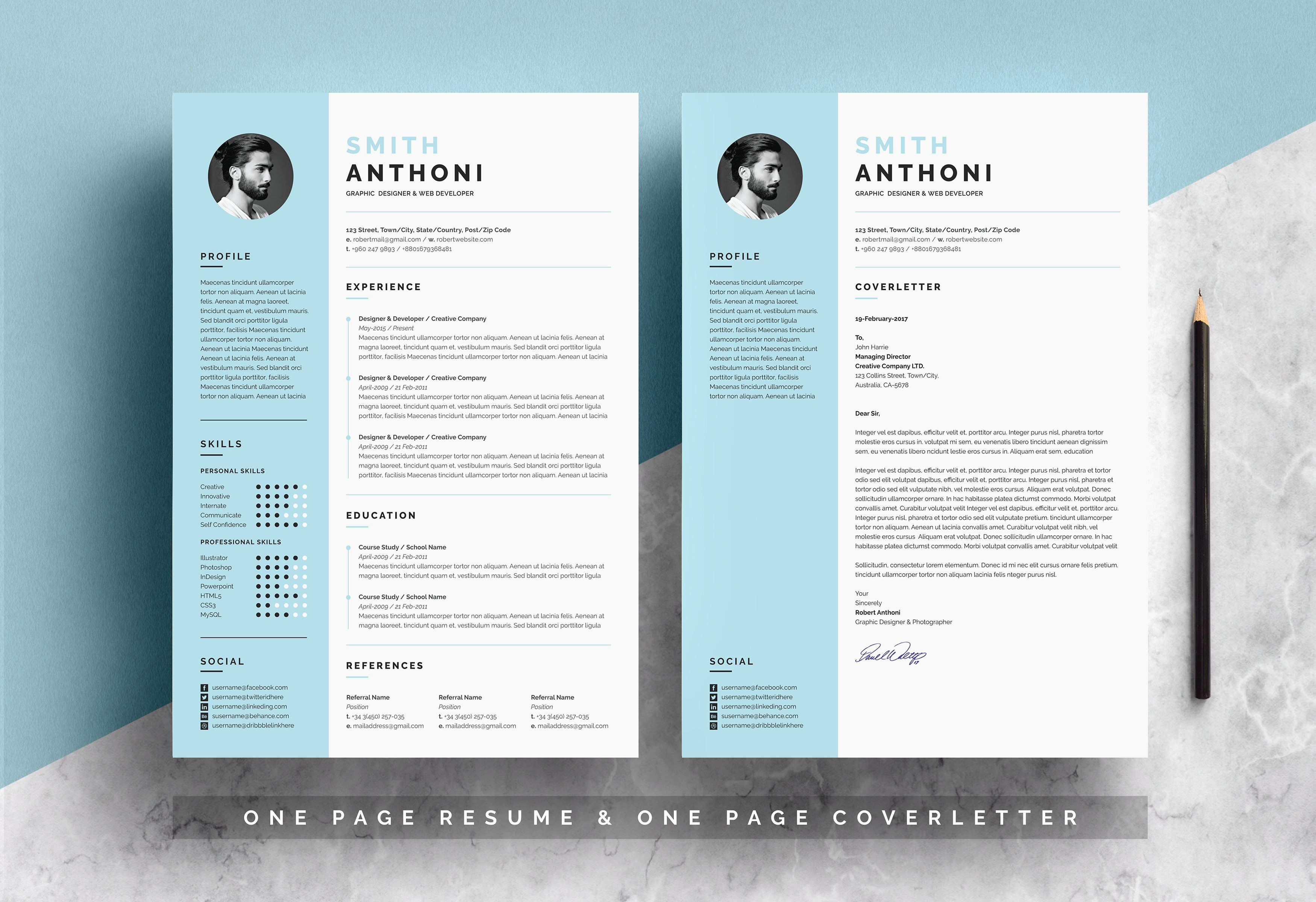 Clean Resume 2 Pages Clean Resume One Page Resume Template