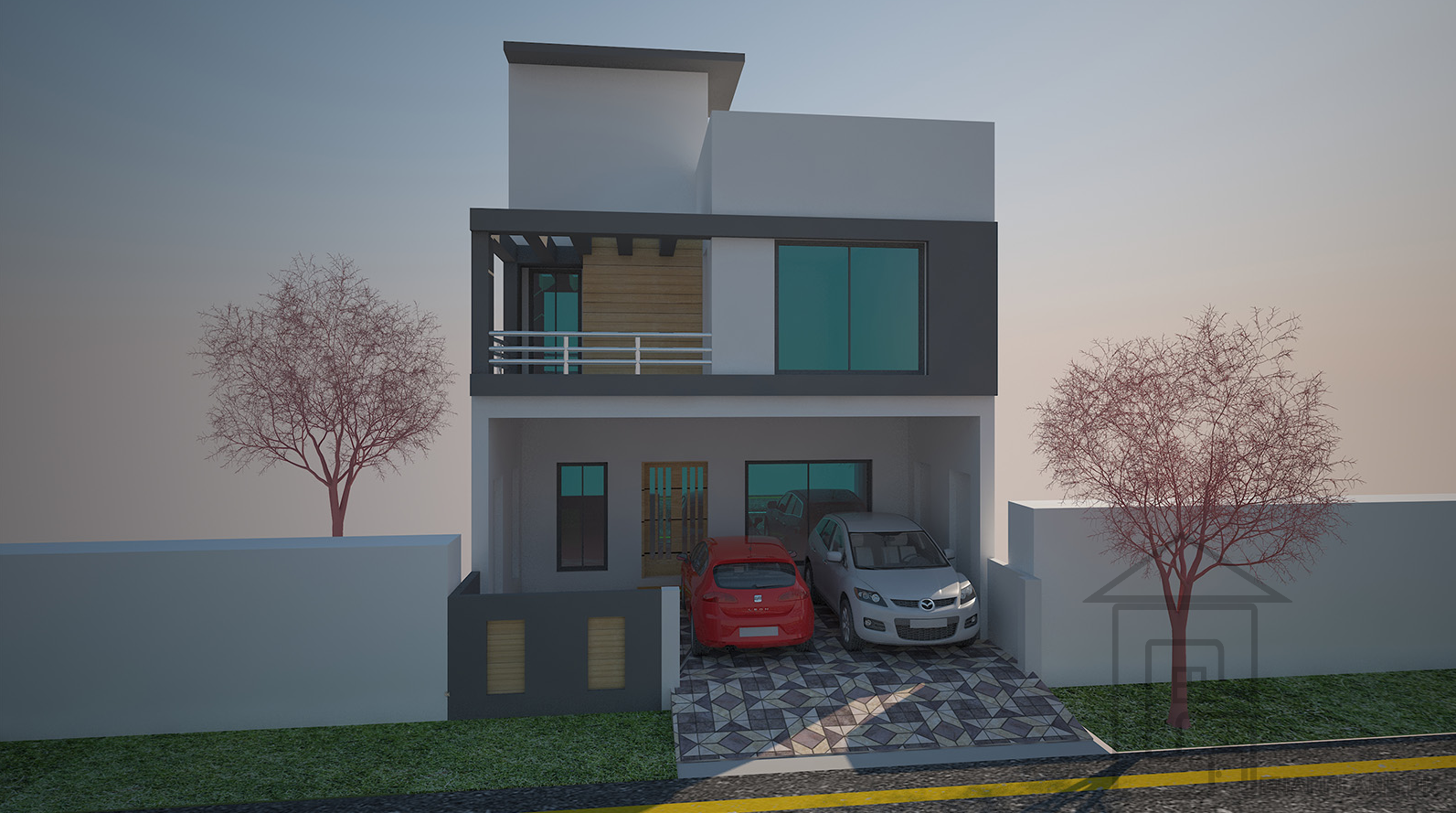 120 sq yards pakistani front elevation with basement the home design accommodates larger family as it has 4 bedrooms with 4 attached bathrooms