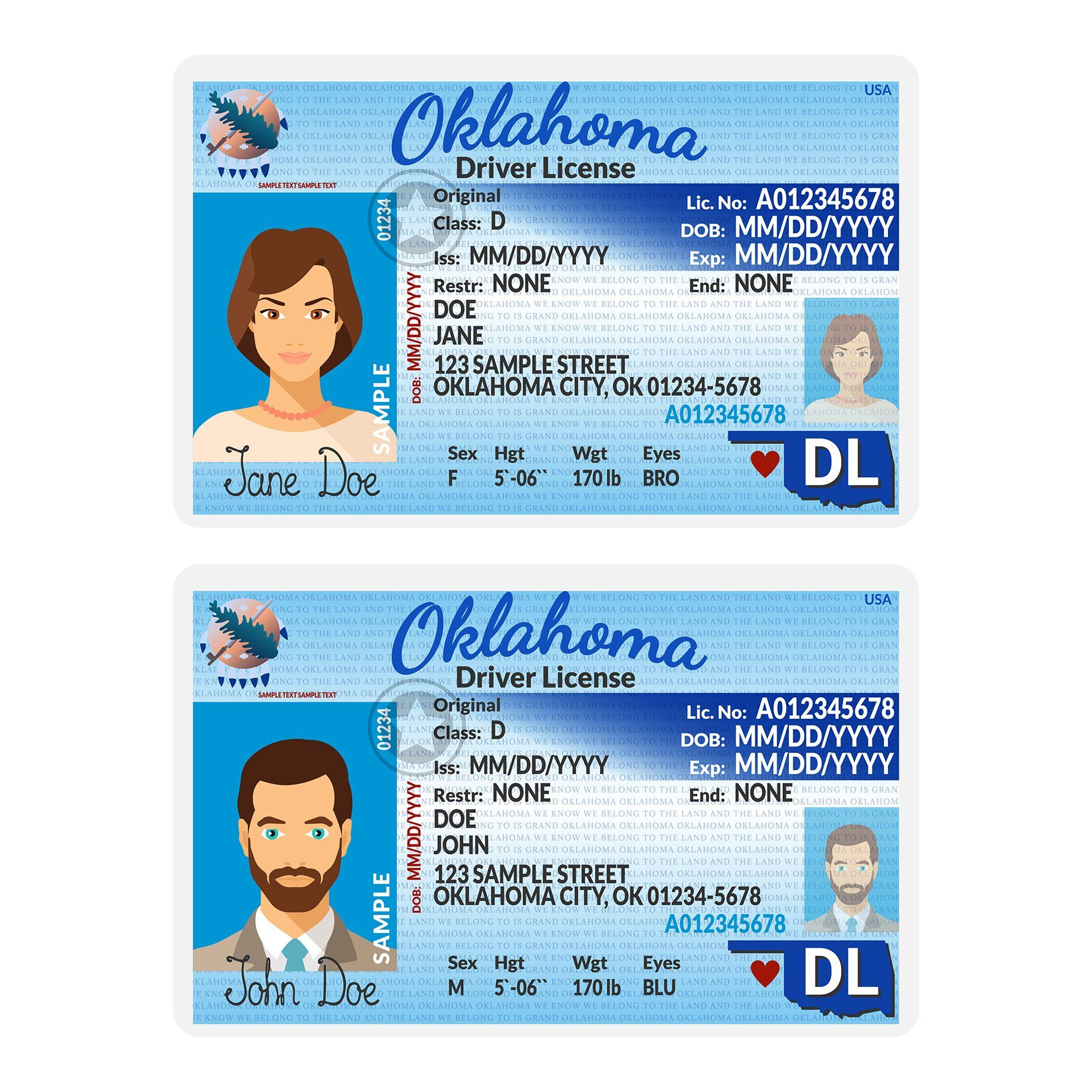 Template Of Driver Card Oklahoma By Alex Oakenman On Creativemarket Id Card Template Driver Card Drivers License