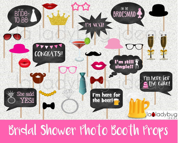 Bride photobooth props 9pc*