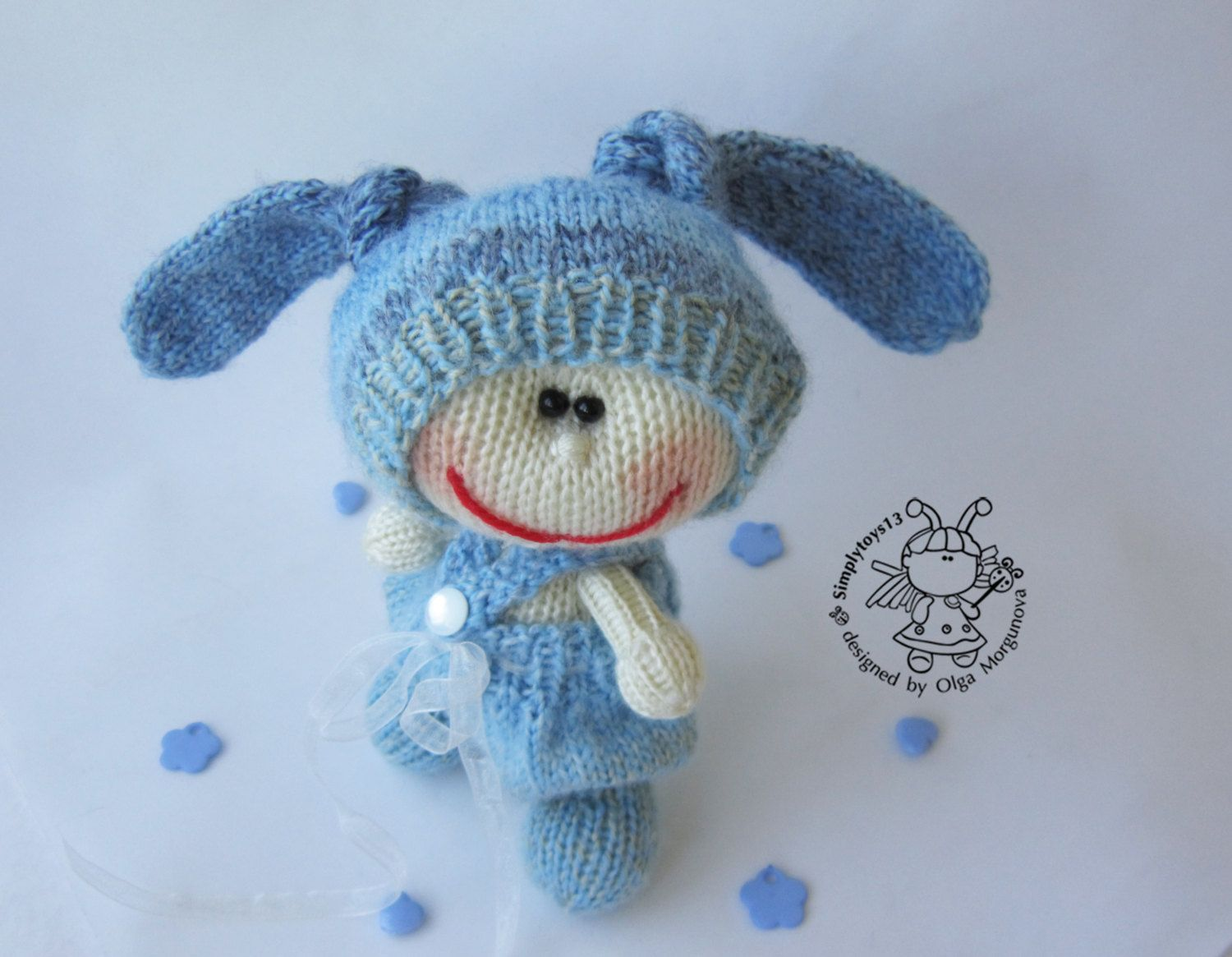 Pebble doll blue Bunny - knitting pattern (knitted round.  Amigurumi doll by simplytoys13 on Etsy
