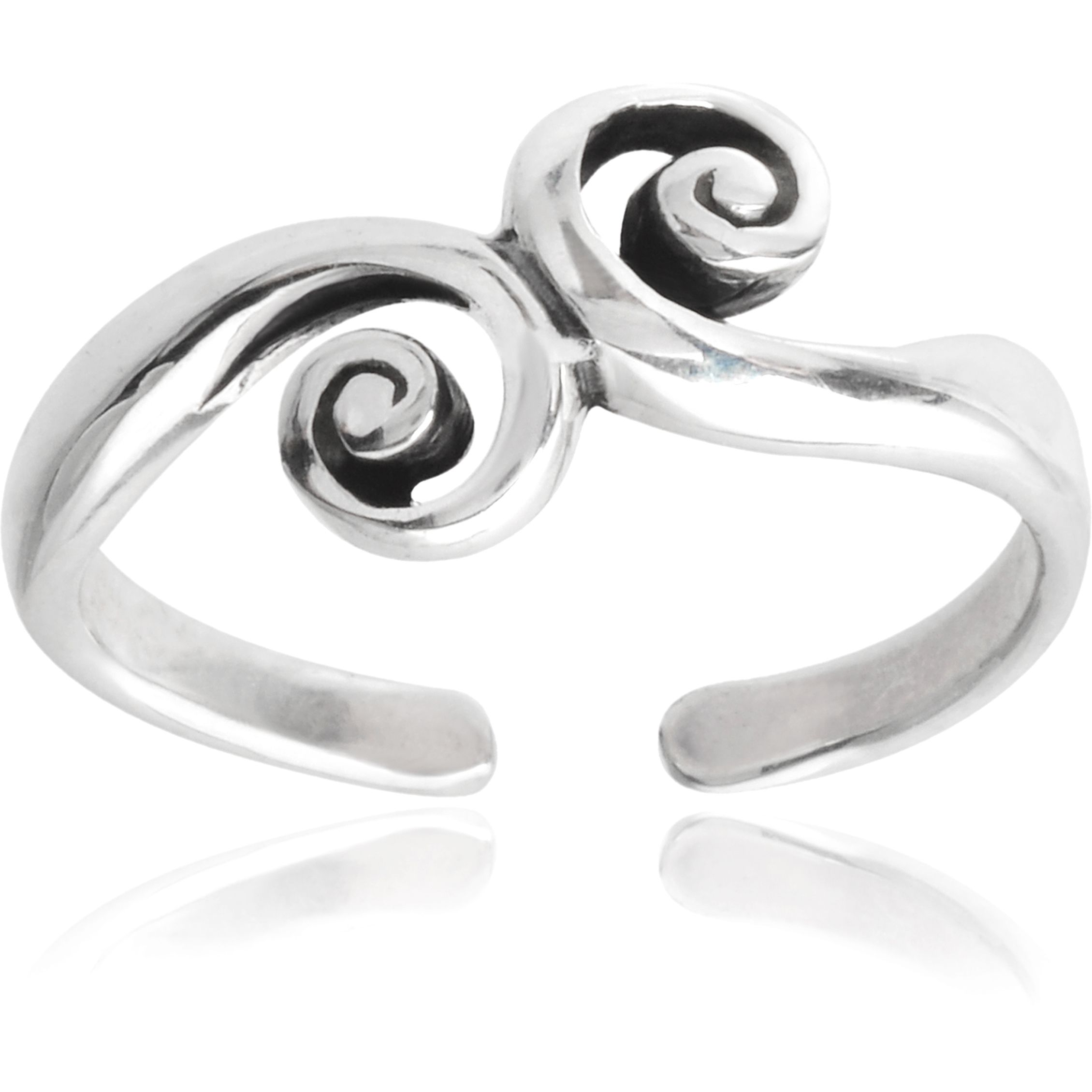 Journee Collection Sterling Silver Swirl Toe Ring (Silver), Women's, White, Size 2