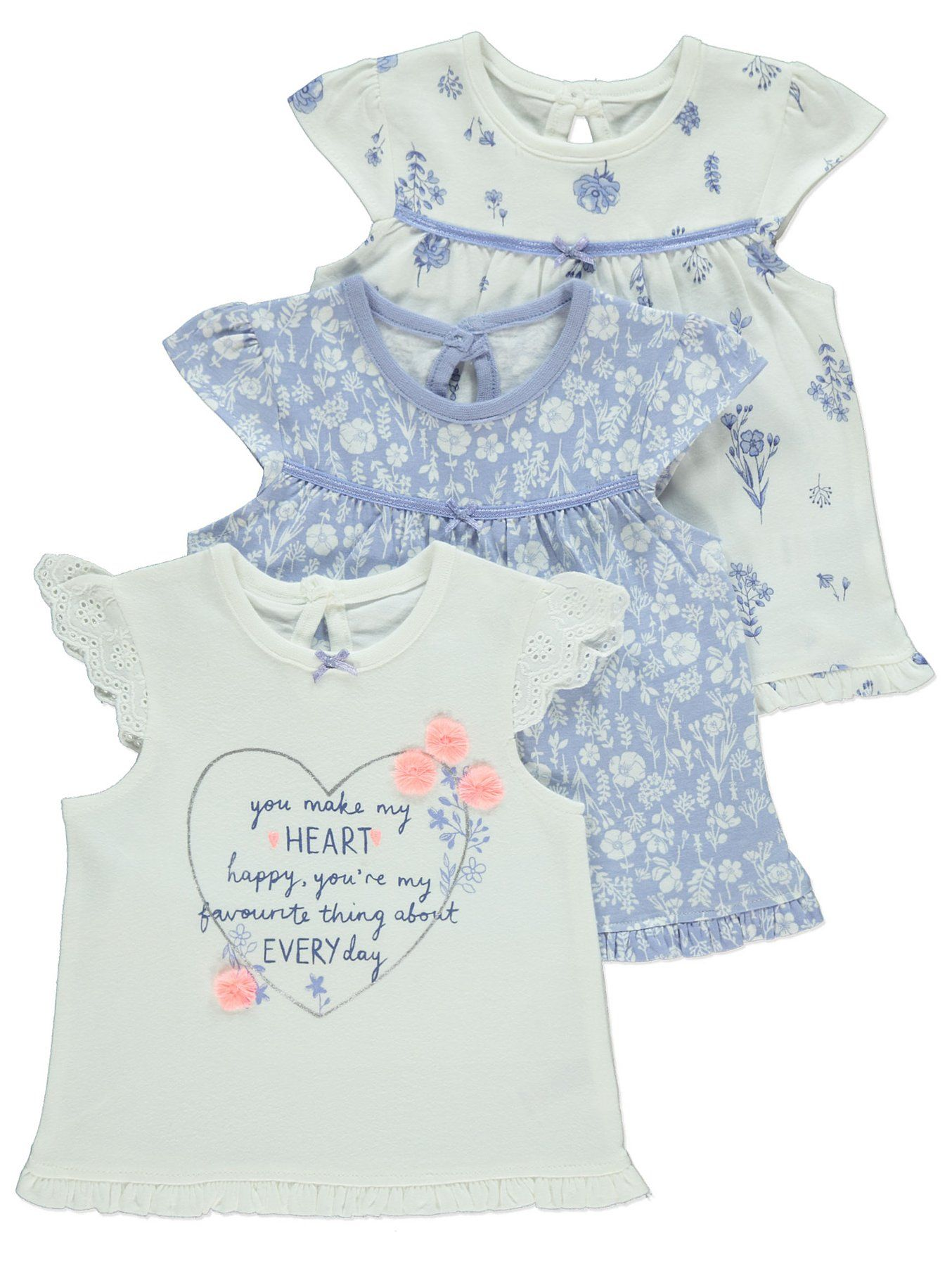 Set of 3 Cotton Embroidered Slogan Bibs by First Steps