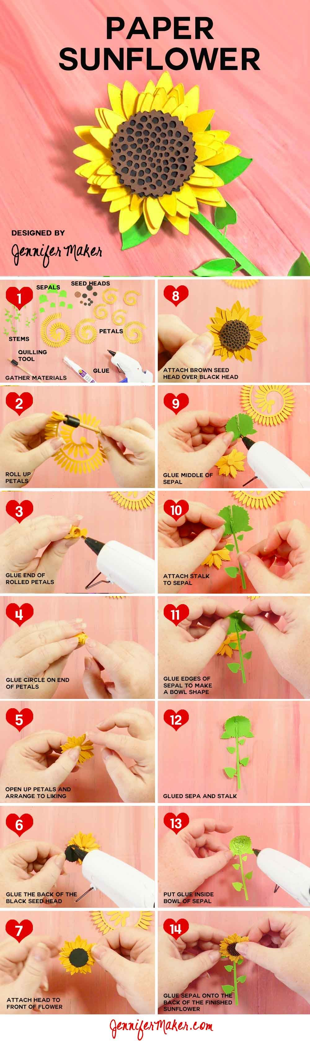 How to make a simple rolled paper sunflower quill cricut and