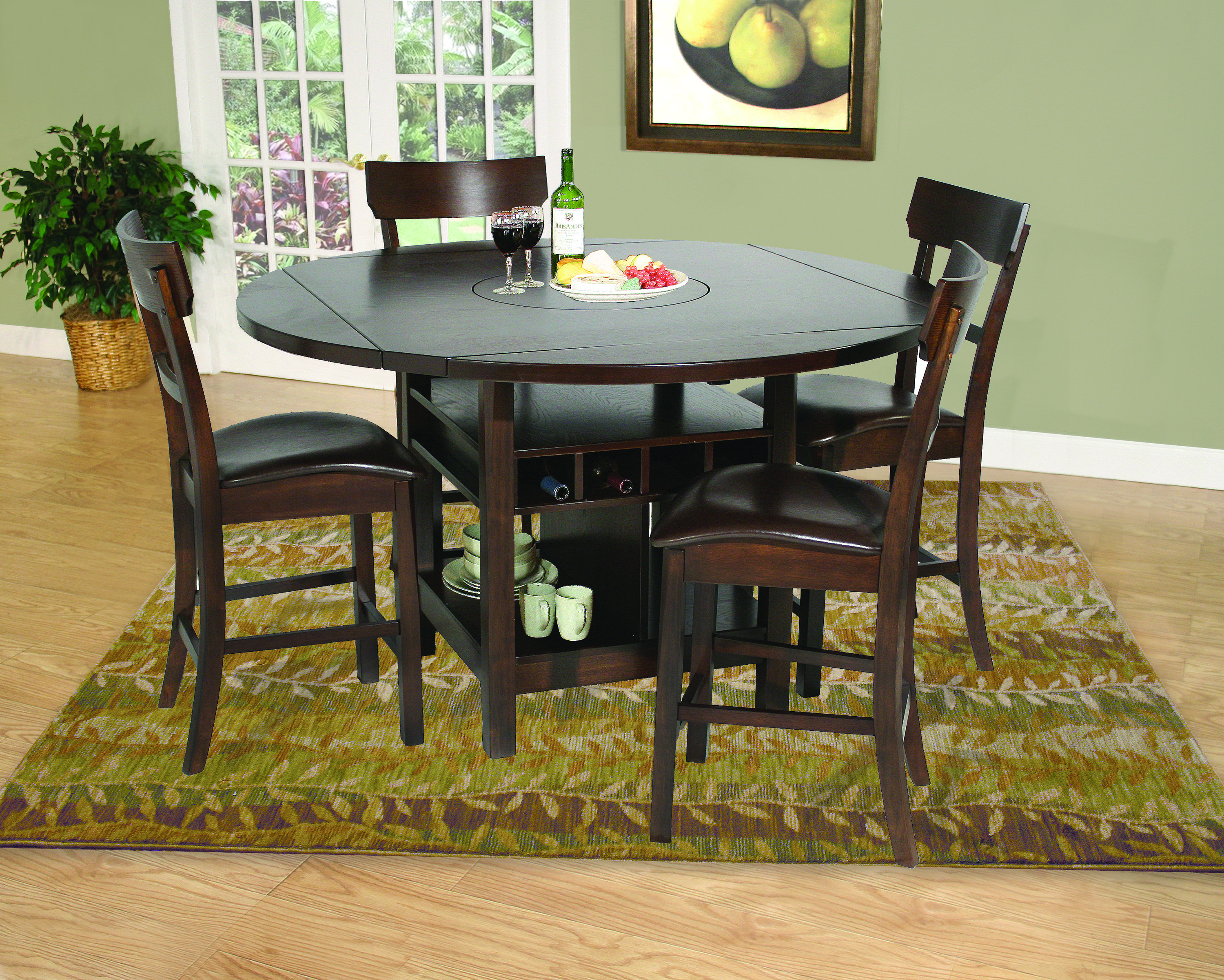 House The Samantha Pub Features A Perimeter Drop Leaf Table Top With Built In Lazy Susan