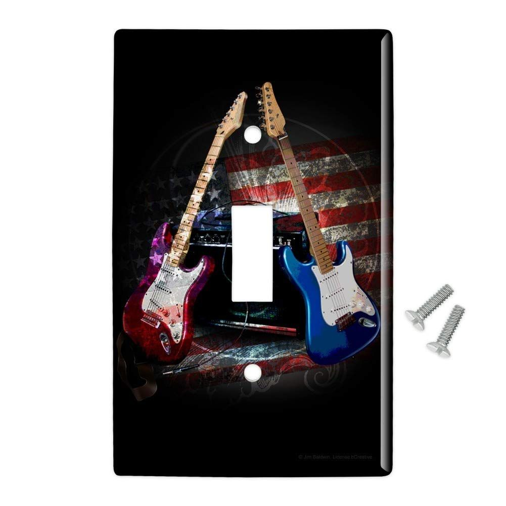 Rock And Roll Guitars Red White Blue Toggle Light Switch Plate Cover Stratocaster Guitars Guitar A Light Switch Plate Cover Light Switch Plates Switch Plates