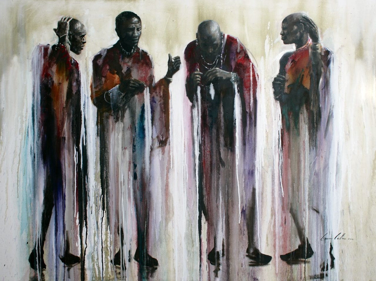 """Title: """"The Discussion"""" Gavin Collins Paintings Size: 2m x 1,5m"""