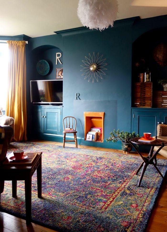 1001 Idees Pour Reussir La Deco Salon Bleu Et Donner Un Nouveau Look A Piece A Vivre Decoration Salon Bleu Decoration Salon Bleu Canard Et Salon Bleu